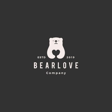 bear love logo hipster retro vintage vector icon illustration