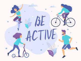 Be active vector illustration. Healthy active lifestyle. Different physical activities: running, roller skates, scooter, nordic walking. Wall mural