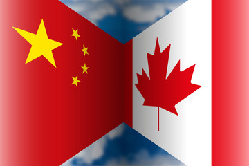 China vs Canada flags, vector illustration and graphic elaboration, international affairs
