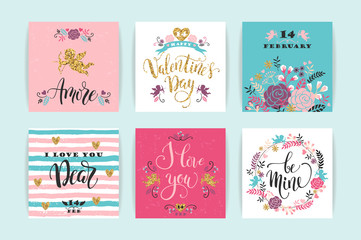 Set of Happy Valentines Day cards. Hand drawn lettering design.