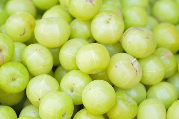 Fresh Indian gooseberry fruits at street side vegetable market in India
