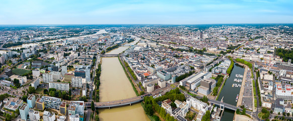 Nantes aerial panoramic view, France Fototapete