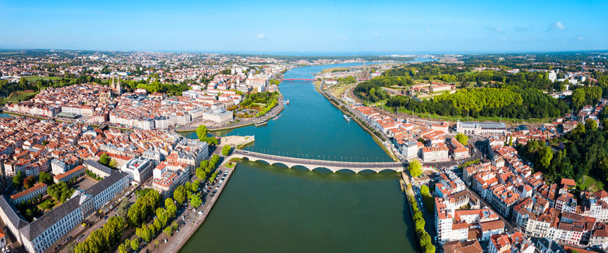 Bayonne aerial panoramic view, France