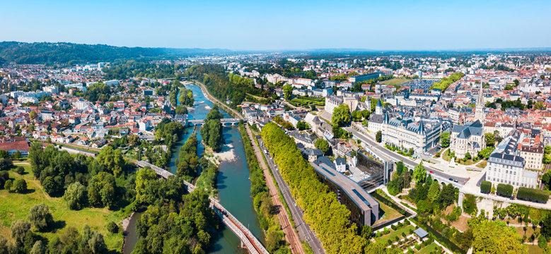 Pau aerial panoramic view, France