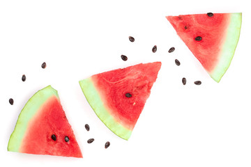 slices of watermelon isolated on white background with copy space for your text. Top view. Flat lay pattern