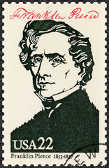 USA - 1986: shows Portrait of Franklin Pierce (1804-1869), 14th president of the United States, series Presidents of USA