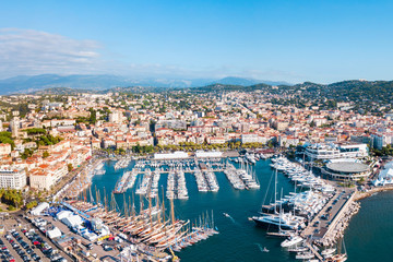 Tuinposter Europese Plekken Cannes aerial panoramic view, France