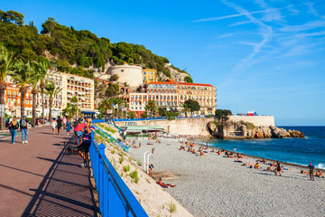 Photo sur Plexiglas Nice Plage Blue Beach in Nice, France