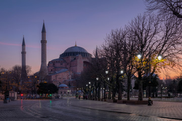 Purple sunrise over Hagia Sophia, Istanbul, Turkey