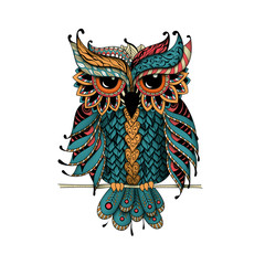 Canvas Prints Owls cartoon Dudling Owl in color