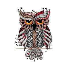 Owl in red and gray colors