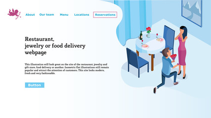 Web page template for restaurant website, food delivery, jewelry store. Easy to edit and customize.