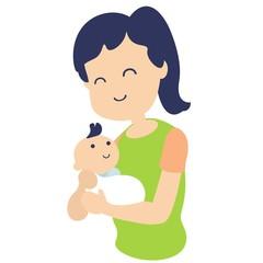 mother holding newborn baby flat design