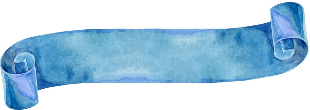Watercolor vintage blue ribbon. Hand painted banners isolated on white background.