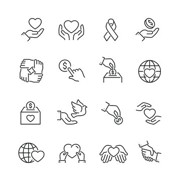 Support and donation related icons: thin vector icon set, black and white kit