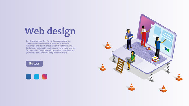 Template for website for web design. Isometric illustration with laptop, woman, man. Easy to edit and customize.