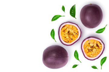 Two whole passion fruits and a half isolated on white background with copy space for your text. Isolated maracuya. Top view. Flat lay Wall mural