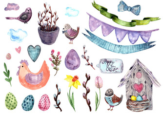 Hand drawing easter watercolor elements