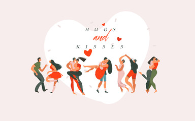 Hand drawn vector abstract cartoon modern graphic Happy Valentines day concept illustrations art card with dancing couples people together isolated on colored background
