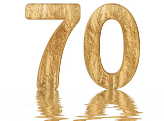 Numeral 70, seventy, reflected on the water surface, isolated on  white, 3d render
