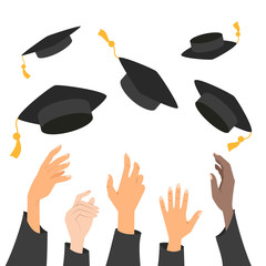 Concept of education, hands of graduates throwing graduation hats in the air.
