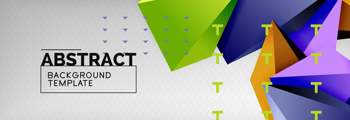 Triangles polygonal background, vector 3d poly template