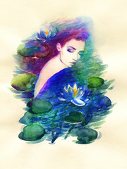 Poster de jardin Portrait Aquarelle beautiful woman. fantasy illustration. watercolor painting