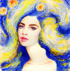 Poster de jardin Portrait Aquarelle starry night. beautiful woman. fantasy illustration. watercolor painting