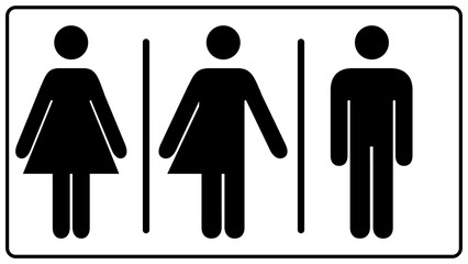 All gender restroom sign. Male, female transgender.  illustration. Black symbols isolated on white. Mandatory banner. Set of female, male and transgender people silhouettes