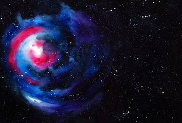 Watercolor space. Abstract cosmic background. Watercolor hand painted illustration