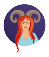 Aries astrological sign. Vector illustration with portrait of a redhead girl - Vektorgrafik. Zodiac sign Aries woman. Astrology symbol as female portrait.