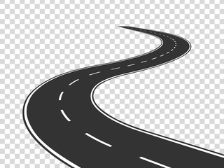Poster Cartoon cars Winding road. Journey traffic curved highway. Road to horizon in perspective. Winding asphalt empty line isolated vector concept