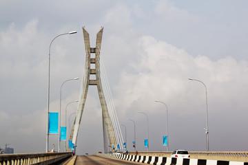 Lekki - Ikoyi toll bridge, Lagos, Nigeria. Cable-stayed bridge, transportation infrastructure.