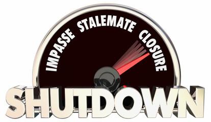 Shutdown Impasse Deadlock Closure Speedometer 3d Illustration