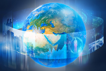 Earth surrounded by business images, blue
