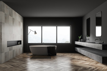 Gray and tile bathroom interior, tub and sink