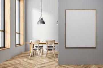 Gray dining room interior, vertical poster
