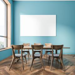 Blue dining room interior, horizontal poster