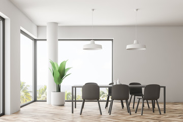Minimalistic white dining room interior