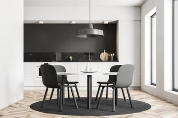 Gray chairs kitchen interior