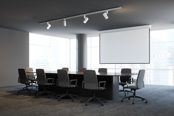 Gray office meeting room interior