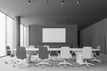 Gray meeting room interior, screen