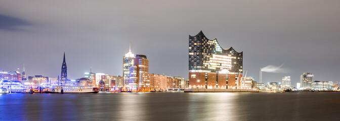 Elbphilharmonie and Hamburg harbor at night