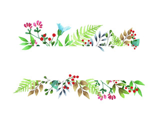 Vector watercolor illustration. Floral greeting card with leaves and branches. Spring flowers for invitation, wedding or postcard.