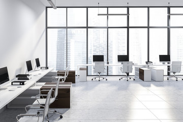 White panoramic office, wooden tables