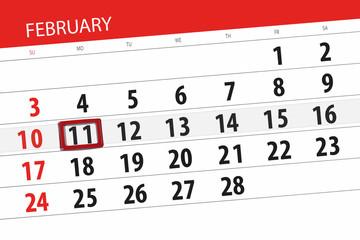 Calendar planner for the month february 2019, deadline day, 11, monday