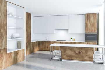 White and wooden kitchen, island and cupboard
