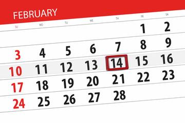 Calendar planner for the month february 2019, deadline day, 14, thursday
