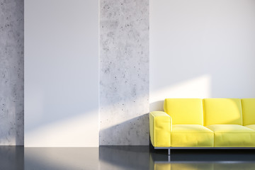 White and concrete living room, sofa