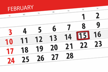 Calendar planner for the month february 2019, deadline day, 15, friday